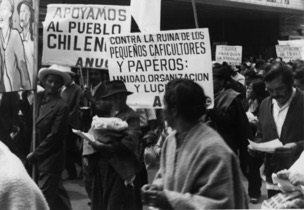Protest march by the Association of Colombian Rural Workers, violently suppressed by the extreme right, Bogota 1972,
