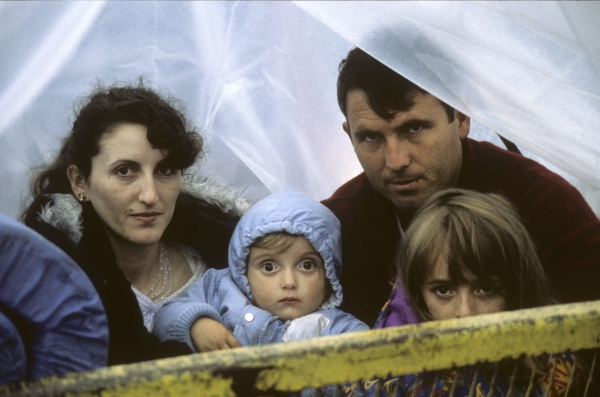 Refugee family in Kosovo during the war