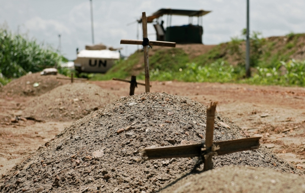 Makeshift graves at the United Nations Mission in the Republic of South Sudan (UNMISS)