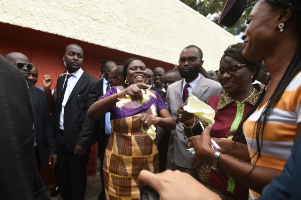 Simone Gbagbo arrives at her home in Abidjan after she was released from prison on August 8, 2018