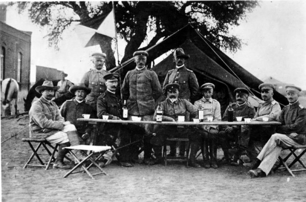German troop commander Gen Lotha von Trotha (seated centre), who ordered the extermination of Hereros in 1904
