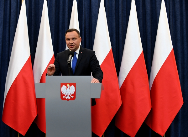 Poland's President Andrzej Duda gives a press conference on February 6, 2018 in Warsaw to announces that he will sign into law a controversial Holocaust bill