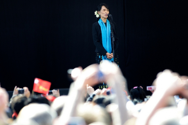 Aung San Suu Kyi in Oslo (2012) to receive the Nobel Peace Prize, awarded during the years she was under house arrest in Myanmar