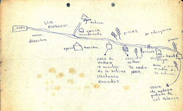 Sketch of the place where the body was found of Luis Fernando Lalinde, a disappeared student, given by his mother
