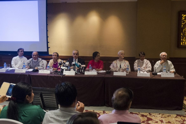The government's Advisory Commission on Rakhine State at a Thursday press conference in Yangon