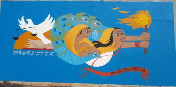 NEFAD's members with Artists in the mid western Nepal painted this Mural in memory of the disappeared