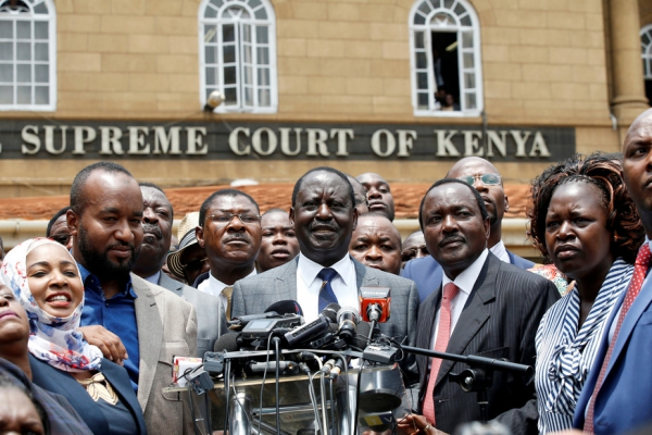 Opposition Kenyan leader Raila Odinga speaks out after the election was declared invalid