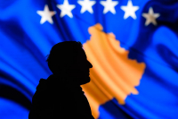 The flag of Kosovo, independent from Serbia since 17 February 2008. © Armend Nimani / AFP