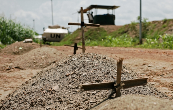 Makeshift graves in South Sudan of refugees around the UN headquarters in Juba 2016