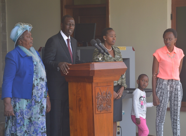 Press conference of William Ruto with his family on April 8