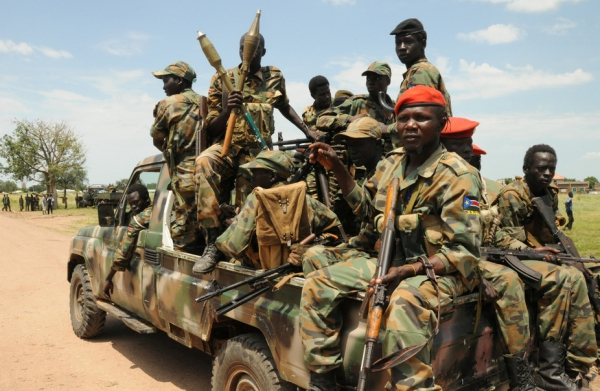 Sudan People's Liberation Army (SPLA) forces on patrol following deadly fighting close to Malakal in October 16, 2016.