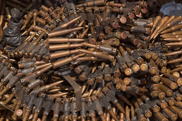 Weapons from the ex-Seleka rebels taken by the UN, assisted by Sangaris, Bria, February 11, 2015