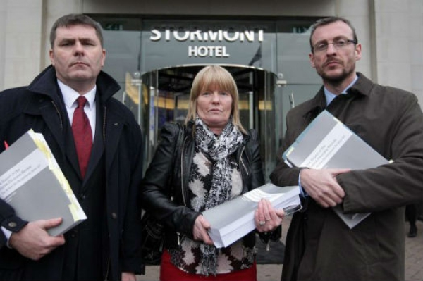 Mark Thompson,left, alongside Teresa Slane, widow of Gerard Slane killed by same loyalist gang that killed Pat Finucane, and lawyer Paul Pierce on receiving copy of De Silva Review into Finucane's murder (RfJ)  As ICTJ looks back on its 15 years of work, join us in celebrating our allies across the globe who struggle for human rights, against impunity. To honor their efforts in the trenches of this struggle, we will bring you their stories in the weeks and months to come.  This is the story of Mark Thompson, CEO of Relatives for Justice, a group struggling for truth and justice in Northern Ireland