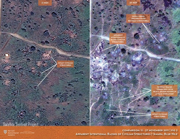 Images of Amara village in Sudan before and after attacks