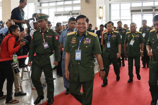 Commander-in-chief Senior General Min Aung Hlaing arrives at the opening session of the latest 21st Century Panglong conference in Nay Pyi Taw on May 24