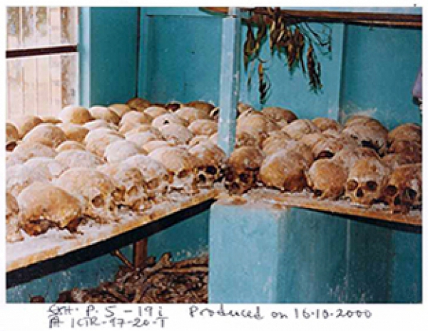 Exhibit P5-19 in the trial of Rwandan ex-mayor Laurent Semanza. Photo taken by an investigator at the church in Musha where many Tutsis were massacred in April 1994