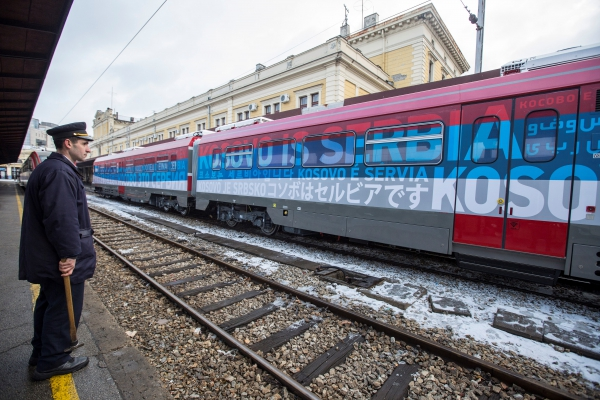 "In January, Belgrade sent a propagandist train towards Kosovo, painted in the colours of the Serbian flag and bearing the message ""Kosovo is Serbia"""