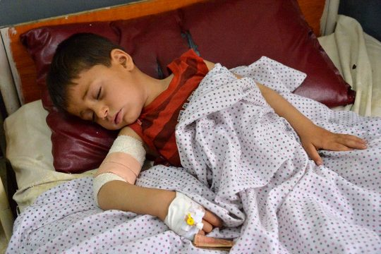 Afghan victim (young boy) wounded, in hospital