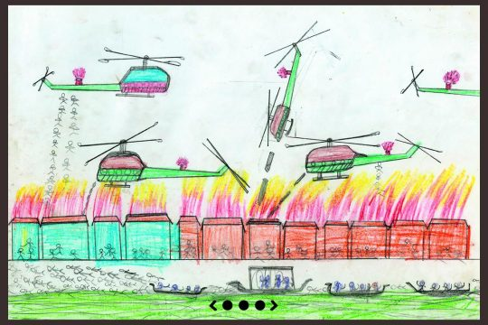 War scene in a children's drawing (helicopters, paratroopers, boats, fire...)