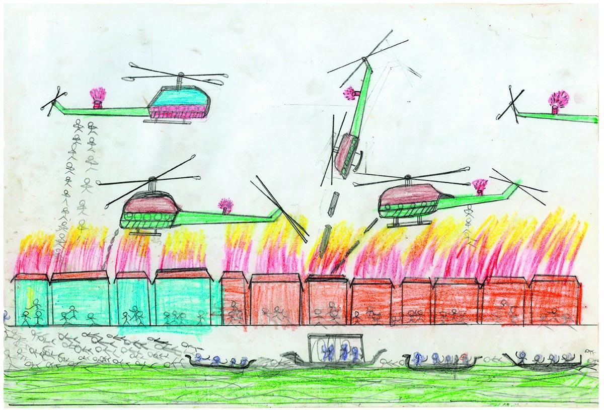Scène de guerre dans un dessin d'enfants (hélicoptères, parachustistes, bateaux, feu...)
