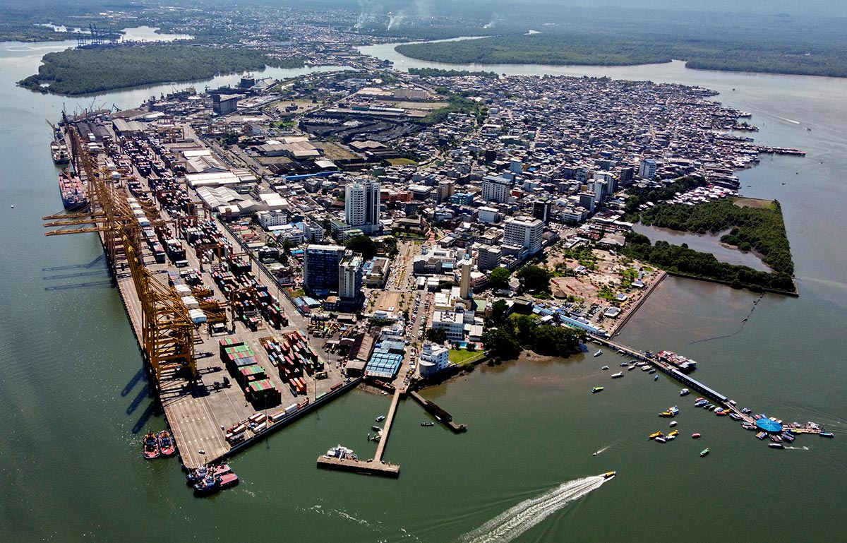 Aerial view of the city of Buenaventura in Colombia