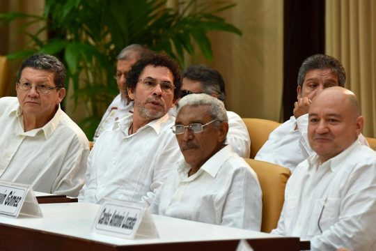 4 former Colombian FARC rebel commanders during the 2015 peace talks in Cuba