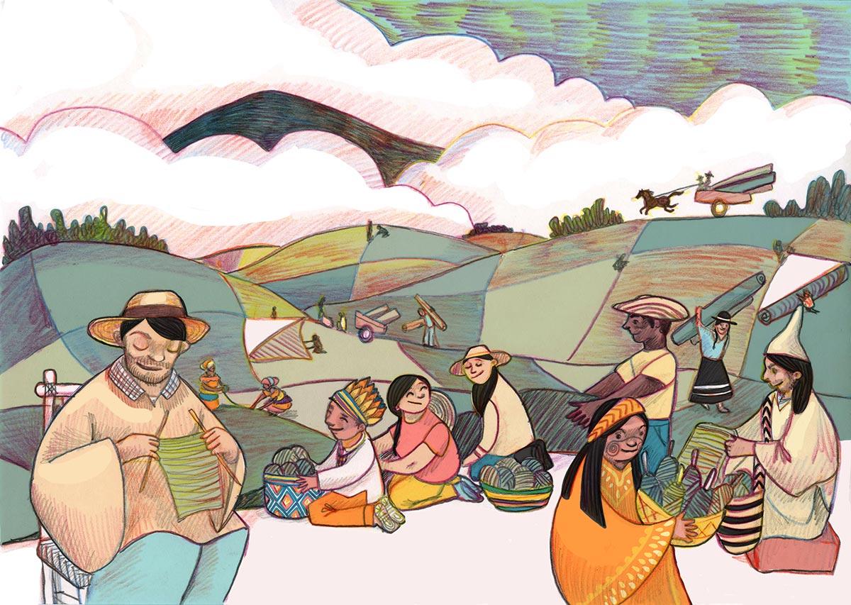 Dibujo que muestra la reconstrucción de Colombia en los campos