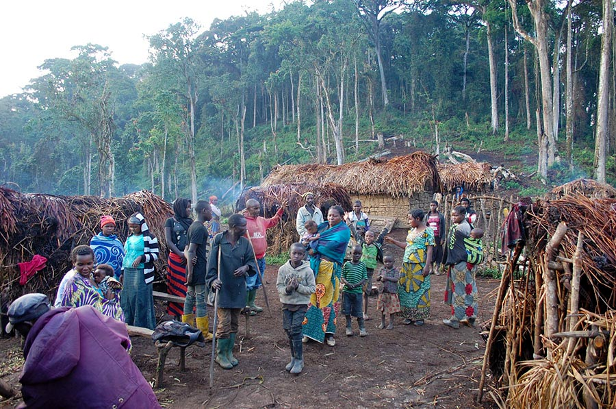 Indigenous Twa people in their village in Congo