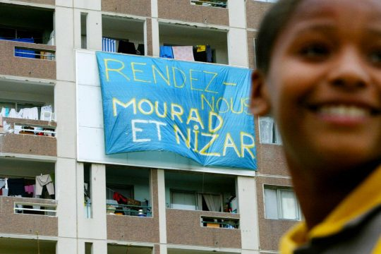 "Banner on the balcony of a building in Lyon, France: ""Give us back Mourad and Nizar"""