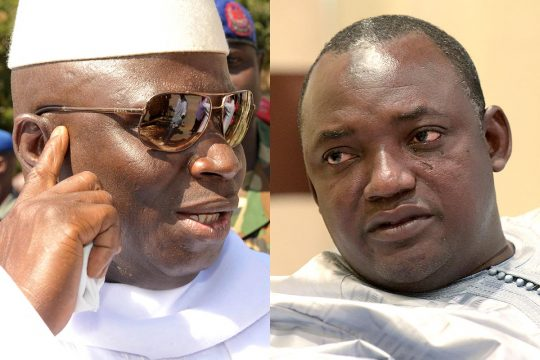 Former Gambian President Yahya Jammeh and current President Adama Barrow