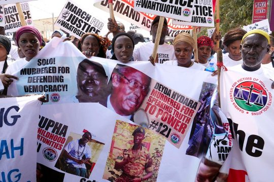 Demonstration by victims of the Jammeh regime