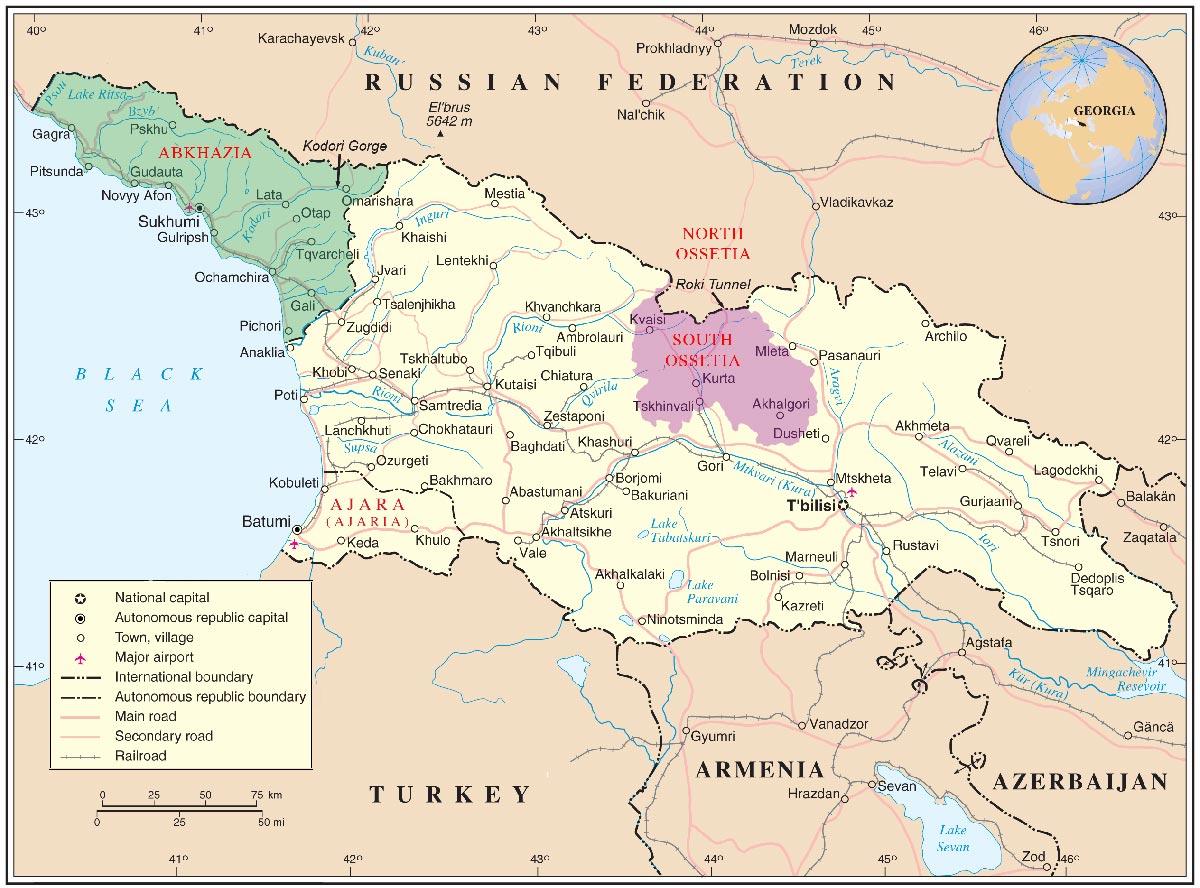 carte de la guerre russo-géorgienne (2008)