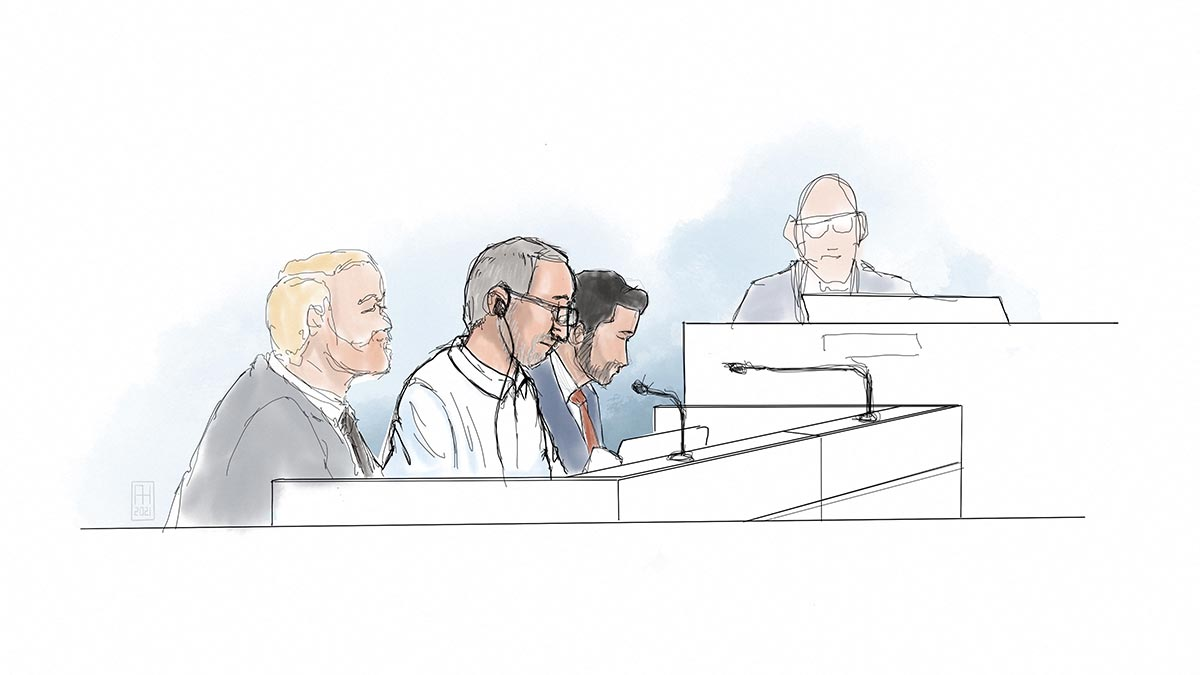 Drawing of Iranian Hamid Noury during his trial