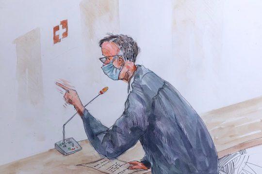 Dessin d'un avocat des victimes dans le procès Kosiah, en Suisse. © Leslie Lumeh