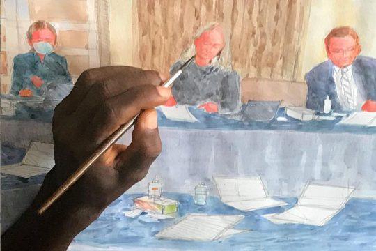 Peinture de la cour finlandaise au Liberia pour le procès Massaquoi