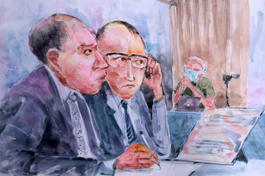 Massaquoi trial: Drawing of the Finnish prosecutors in Monrovia