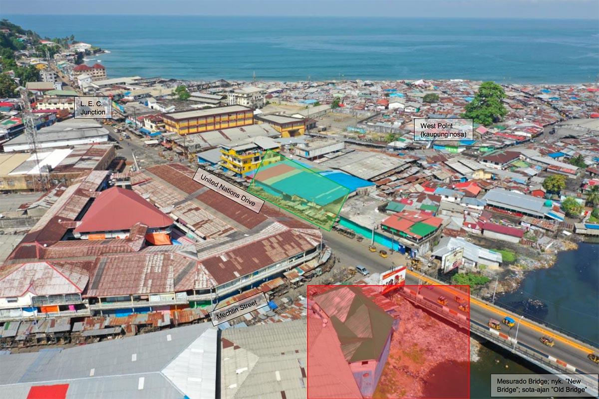 Le quartier de Waterside à Monrovia, Liberia