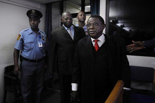 Théoneste Bagosora arrives in court