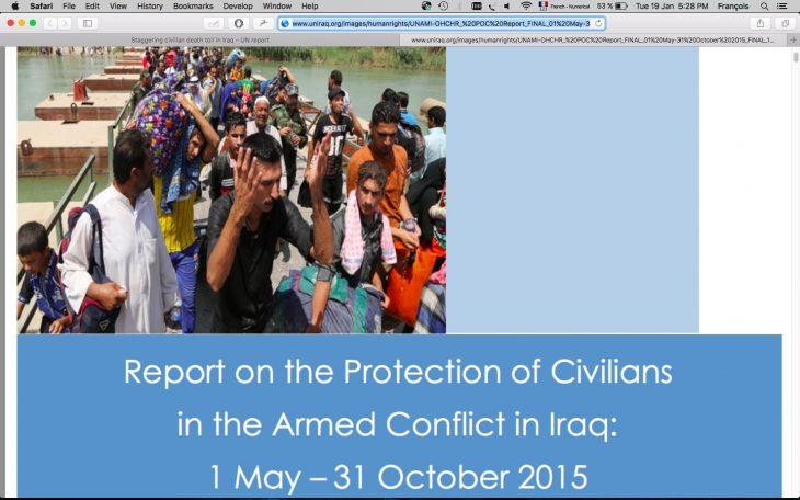 Irak: pertes civiles «effarantes» en 2014 et 2015, selon l'ONU