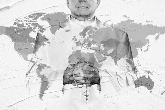 A member of the Catholic Church on a worldmap